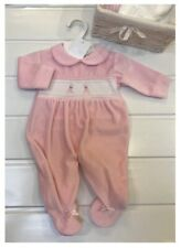 Baby Girls Age Newborn Babygrow Pink Bunny traditional Velour Spanish New