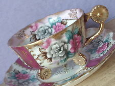 Vintage Japan Iridescent footed red pink rose flower handle tea cup teacup