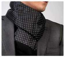 New Mens Double Side Scarf Silk Wool Blend Black with White Polka Dot