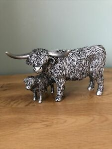 Highland Cow and Wee Calf Figure Ornament Silver Shudehill