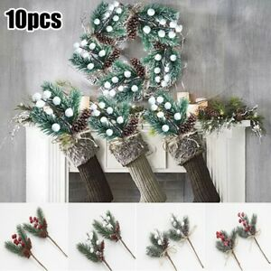 10PCS Artificial Pine Snowy Flower With Berries Picks Crafts Xmas Ornaments Pack