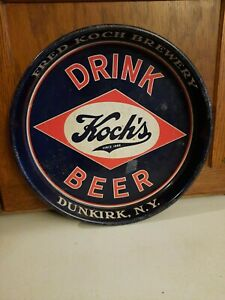 """FRED KOCH'S BREWERY BEER TRAY DUNKIRK NY 13"""" ORIGINAL"""