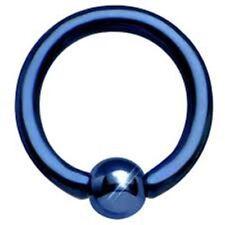 "Captive Nipple Ear Ring 14 Gauge 1/2"" Titanium IP Blue 5mm Ball Body Jewelry"