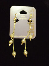 Clip on earrings pearl and chain new silver tone non pierced dangle Claire's