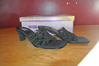 "Art Effects Shoes Black Leather Slide 2.5"" Heels Mules Sandals Shoes Size 8.5M"