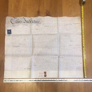 1856 Glastonbury Indenture manuscript 15th April - Somerset mid C19th antique