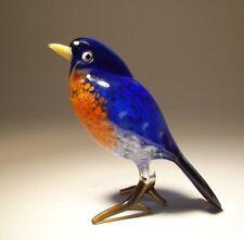 Blown Glass Blue and Red Bird Figurine