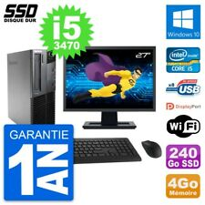 """PC LENOVO M82 SFF Screen 27 """" Intel Core i5-3470 RAM 4Go SSD 240Go Windows 10"""