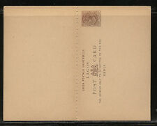 Lagos postal reply card unused 1 1/2 cent brown Ms021