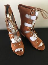 Boohoo Lace Up Beige Gladiator Sandals Size 6 Tan Suede Effect Block Heel