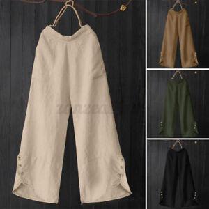 ZANZEA 8-24 Women Plus Size Pull-On Elastic Waist Chino Pants Wide Leg Trousers
