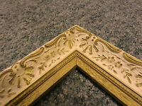"3139M Vtg 12.75"" x 20.5"" Frame French Ivory & Gold Finished WOOD ORNATE !!"