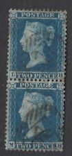 GB LINE ENGRAVED :1855 2d blue plate 5 Large crown perf 14 pair LB-MB SG 34 used