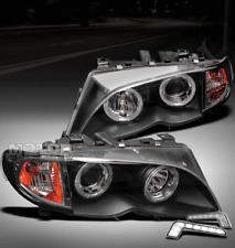 02-05 BMW E46 3 SERIES 4DR HALO BLACK PROJECTOR HEAD LIGHT+DRL KIT SIGNAL CORNER