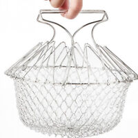 Multifunction Deep Fry Basket Stainless Steel Foldable Strainer for Cooking