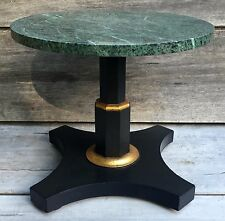 Vintage Baker Furniture Marble Top Pedestal Low Accent Coffee Table c. 1960