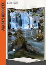 Eck Duschrückwand Dusche Wandverkleidung Fliesenspiegel Motiv: Wasserfall