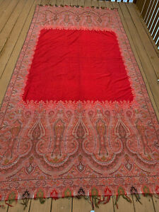 100% Genuine Pashmina Shawl with Silk Outlays.Hand Woven in Indian Kashmir 5x11'