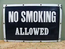 "Vintage ""No Smoking Allowed"" Porcelain Sign 21 1/2 x 14 Vintage Sign, USC#218"