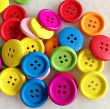 100pcs Mixed Colors Round Wood Button 4 holes Craft Sewing Scrapbooking Hnk212