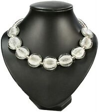 SILVER FOIL ice clear MURANO GLASS BEAD beaded NECKLACE