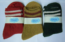 3 pair lot ONAY AUTUMN WINTER WOOL WOMENS SOCKS COMPRESSION RED GOLD GREEN uns