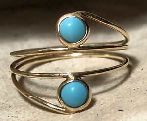 handmade 14k gold ring persia cabachon turquoise evil eye nazar talisman 6.25/.5