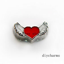 10pcs Wing Heart Floating Charms Fit Living Glass Locket FC1123 Free Shipping