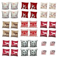 18'' Pack of 4 Cushion Cover Christmas Stag Reindeer Set of 4  Pillow Case