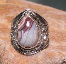 925 sterling silver Laguna lace agate wide ring UK N-N¼/US 7. Gift bag.