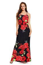 Kleid Gr.52/54 Maxikleid schwarz rot Stretchkleid Sommerkleid Maxi Blüten Muster