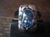 prächtiger Jugendstil Ring aquamarin Stein 835er Silber floral verziert RG 58