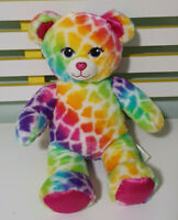 Build-A-Bear TEDDY BEAR BAB Soft Plush Toy 40cm Tall! RAINBOW PINK SPARKLY NOSE
