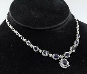 Heavy 18K white gold 17.50CT diamond & sapphire formal necklace