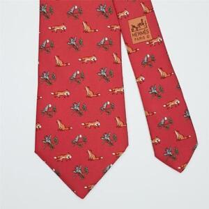 HERMES TIE 5216 IA Fox & Bird on Red Classic Silk Necktie