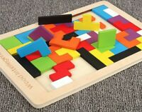 Colorful Wooden Tangram Brain Teaser Puzzle Toys Tetris Game intellectual Gift