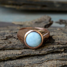 Natural Dominican Larimar Gemstone Sterling Silver Rose Gold Round Ring Size 10