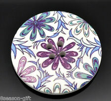 20 Multicolor Flower Pattern 4 Holes Wood Sewing Buttons 40mm