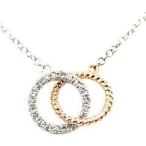 ".08 CT DIAMOND WHITE & ROSE GOLD 2 CIRCLE PENDANT 17"" 14 KT WHITE GOLD NECKLACE"