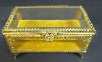 VTG JEWELRY/CASKET/TRINKET  BOX FILIGREE GOLD TONE  HOLLYWOOD REGENCY BEVELED