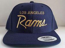 Vintage Replica LA Los Angeles Rams Script Cap Hat Snapback Navy Blue Gold