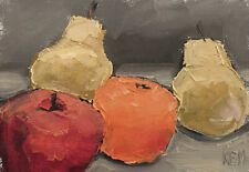 APPLE TWO PEARS ORANGE Still Life Fruit Oil Painting Knive 5x7 060319 KEN