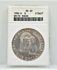 1992 D White House Commemorative Silver Dollar S$1 ANACS MS 69 C71