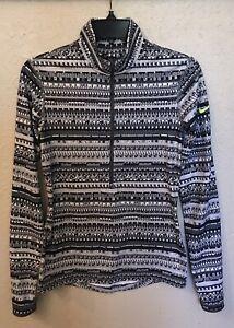 Nike Pro Dri-Fit Womens Black & White Print 1/2 Zip Pullover Top Sz S
