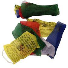 HAND MADE TIBETAN BUDDHIST COTTON PRAYER FLAGS WIND HORSES NEPAL 25 FLAGS 5m