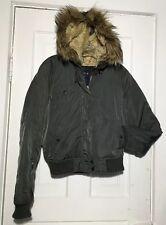 Olive Green American Eagle Sexy Short Anorak Parka Winter Coat Jacket w/Faux Fur