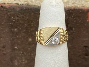 14K TWO-TONE NUGGET CUBIC ZIRCONIA RING SIZE 4, 2.4 GRAMS