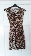 "Fashion ladies short sleeveless leopard print brown stretch dress 32"" chest"