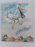 1950s Vtg POP UP STORK New Visitor at Your House CONGRATS New BABY GREETING CARD