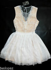 NWT bebe cream white nude mesh lace flare sheer deep v top dress XS 2 party
